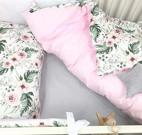 Balbina - Juego de ropa de cama reversible para bebé  Funda nórdica de 100 x 135 cm funda de almohada de 40 x 60 cm, 2 piezas, 100% algodón con cremallera, diseño de flores y rosa)