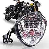 PXPART Motorcycle LED Headlight 7inch Hi Lo Beam White&Red DRL with Universal Motorcycle Mounts Bracket Compatible with Harley Honda Kawasaki Suzuki Yamaha