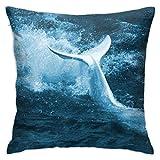 Hangdachang - Funda de almohada personalizada, diseño de ballena blanca para coche, sofá, hogar, 45 x 45 cm