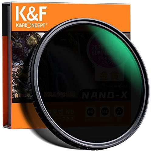 NDフィルター 72mm 可変式 X状ムラなし ND8-ND128減光フィルター 薄型 レンズフィルター K&F Concept【メー...