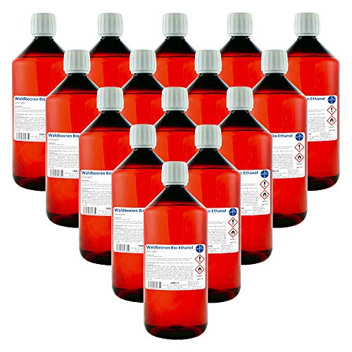 Waldbeeren Alkohol I Kamin-Ethanol I vollvergällt I 15 x 1000 ml I Bioethanol I HERRLAN-Qualität I Made in Germany