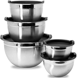 Meal Prep Stainless Steel Mixing Bowls Set, Home, Refrigerator, and Kitchen Food Storage Organizers | Ecofriendly, Reusabl...