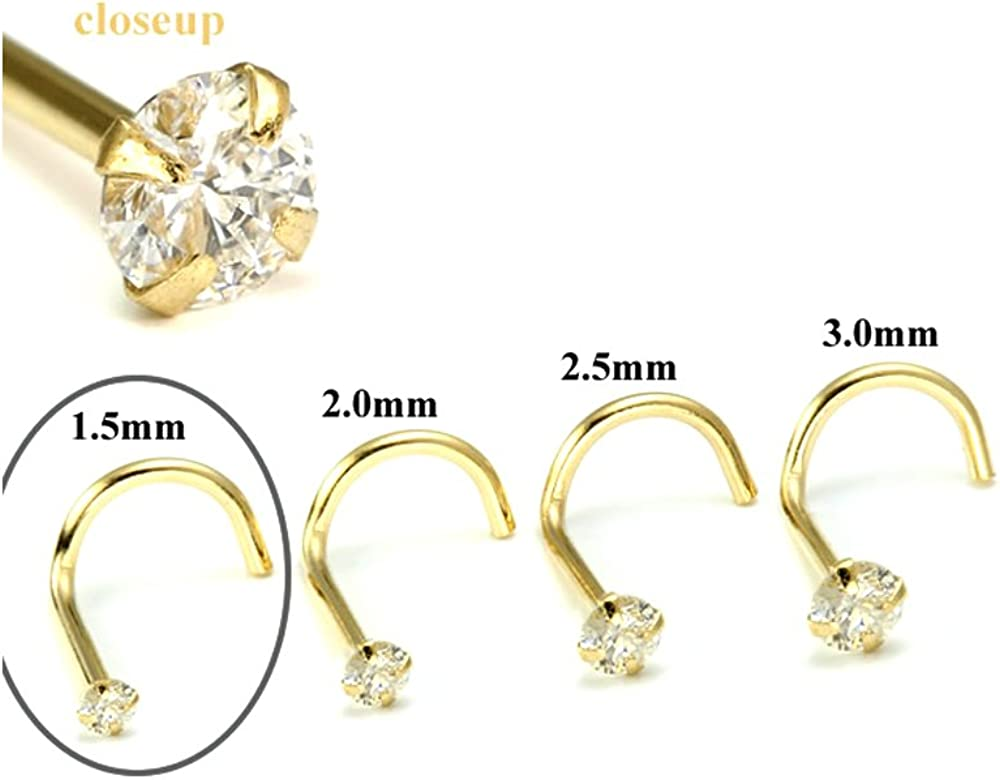 Painful Pleasures Max 65% OFF 14kt Yellow Gold Jewel SI Fort Worth Mall Diamond Nose 1.5mm
