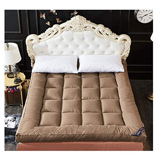 HejinXL matras, dik, antislip, matras van fluweel, veren voor herfst en winter, slaapzak, eenvoudige matras, oprolbaar, camping 150x200cm Bruin