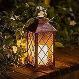 Solarlaterne für außen,TakemeEuro Solarlampe für Außen Gartendeko Weiß Solar Gartenlaterne (Brass)