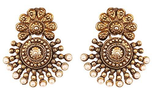 Touchstone Indian Bollywood antiken südlichen Schmuck inspiriert Brautschmuck Ohrringe mit Kunstperlen für Damen Gold