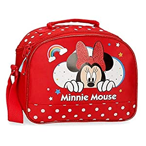 Disney Neceser Minnie Rainbow Adaptable a Trolley con Bandolera, Rojo, 25x19x10 cm
