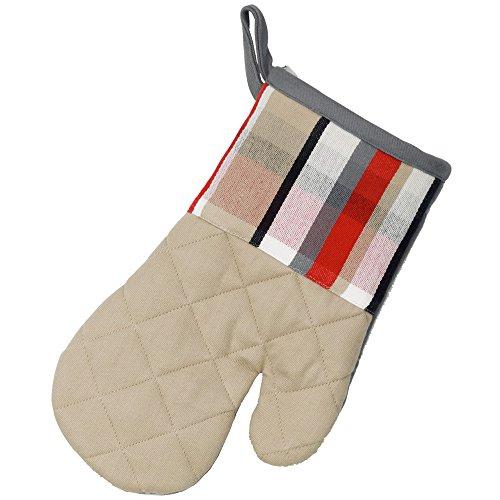 kela Gant Tabea avec Motif carré 28x18cm en Coton, Blanc/Rouge/Taupe, 28x18x2 cm