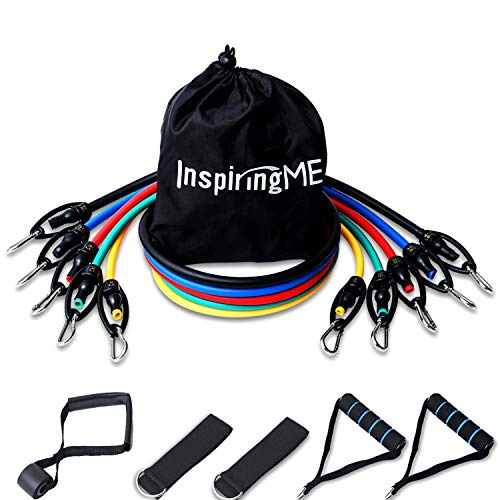 InspiringME Upgraded Resistance Exercise Bands with HandlesDoor AnchorAnkle Straps150lbs Resistance BandsFitness Bands for Women MenShoulder Therapy BandsHome WorkoutsTravel Workouts