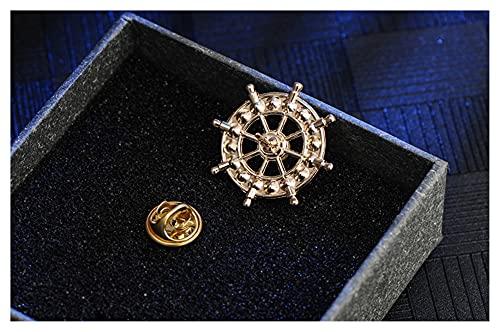PINGPUNG Broche Nuevo Broche de Estilo de aleación Coreano de la Vendimia para el Traje de Vestir para Hombres y Mujeres Ancla de Ancla Camisa COLECTOR Accesorios (Metal Color : Gold Color)