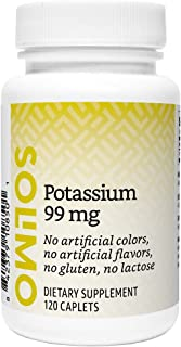 Amazon Brand - Solimo Potassium 99 mg, 120 Caplets, Four Month Supply (Packaging may vary)
