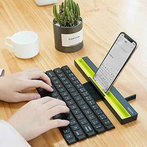 Leegoal - Tastiera Bluetooth portatile pieghevole senza fili, multi-dispositivo, per tutti i modelli di iPhone, Windows, iOS, Mac, tablet Android, smartphone, e così via Nero