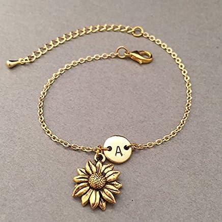 Sunflower charm bracelet, sunflower charm, adjustable bracelet, flower, personalized bracelet, initial bracelet, monogram
