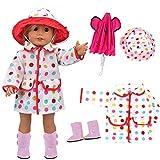 VAMEI 18-Zoll-Puppe Kleidung Regenmantel für Dolls mit Pink Umbrella, Gelben Stiefeln und Bunten...