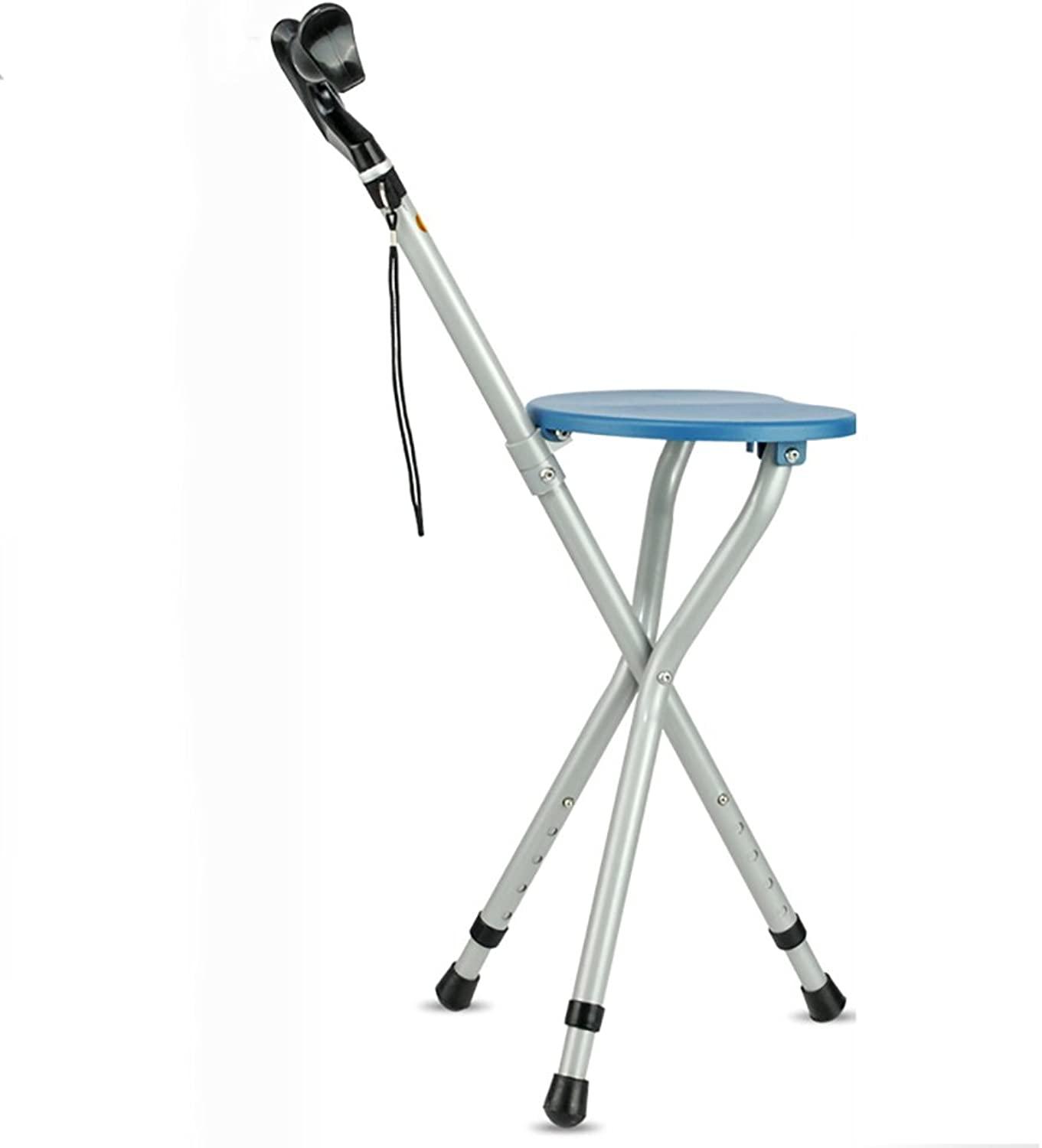 ZZHF dengzi Old Man Crutches Stool Three-Legged Collapsible Walker Creative Cane Stool (2 colors Optional) (color   bluee)
