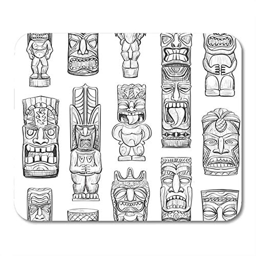 Mauspads Totem der Skizzen Hawaiian Tiki Idols Tattoo Mask Polynesische Bar Luau Mousepad für Laptop, Desktop-Computer Zubehör Mini Office Supplies Mauspads