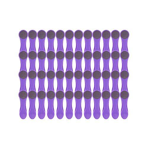 Pinzas para colgar la ropa - Tacto suave y extremos blandos - 48 unidades (Púrpura)