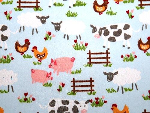 1m | bebé/azul claro azul Granja tela de polialgodón * * INCLUYE REINO UNIDO POST * * granja impreso animales de granja vacas oveja pollo tela de polialgodón con luz verde pálido, Multicolor