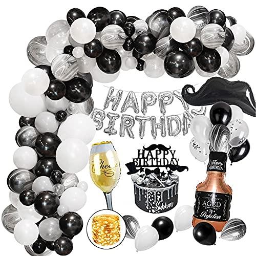 Decoración Cumpleaños Hombres, Blanco Negro Globos Fiesta Cumpleaños Adultos Globos de Látex y Cadena de luz para Mujeres 18 21 30 40 50 60 año Reutilizable