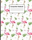 """Composition Notebook: Wide Ruled Lined Paper Notebook Deluxe, 120 pages, 7.5"""" x 9.25"""", by Chen, TRA162003: Pink Flamingo Green Leaf Fern Pattern Composition Notebook"""