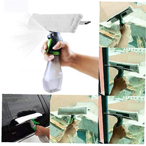 Uayasily Multifuncional 3 en 1 Botella del Aerosol Limpiador de Barrido escobilla de Goma paño de Microfibra Pad Kit de Ventana Vac Limpiador de Parabrisas de Coches raspador 3