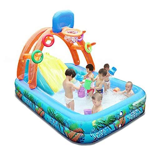 YI'HUI Play Center Planschbecken mit Rutsche - Aufblasbares Schwimmbad, Kinderbasketballspielbecken mit Basketballkorb Wasserrutsche für Kinder