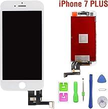 Hoonyer Pantalla para iPhone 7 Plus Pantalla (5.5 Pulgadas) Marco de Pantalla táctil LCD Kit de Pantalla de Vidrio Blanco Desmontaje Herramienta de reemplazo de conversión Completa