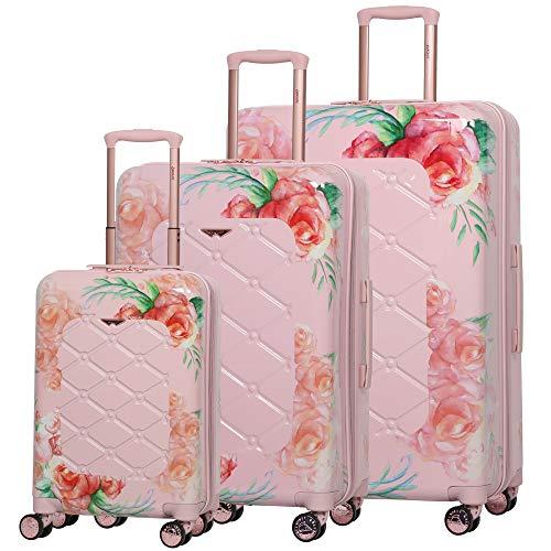 Aerolite Leichter Polykarbonat Hartschale Gepäckset Reisegepäck Trolley Koffer, 3 teiliges Set, 55cm Handgepäck + 69cm + 79cm, Rosa Blumendesign