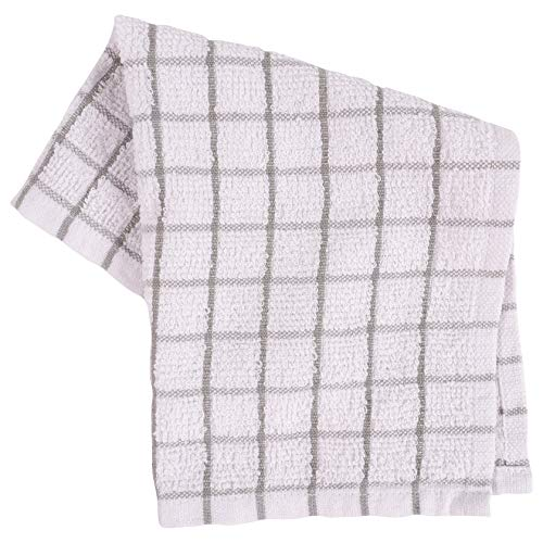 KAF Home Pantry 100% Cotton Checkered Grid Dish Cloths | Set of 6, 12 x 12 Inches | Absorbent and Machine Washable | Perfect for Cleaning Counters, and Any Household Spills - Gray