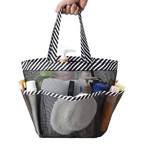 Zecval Mesh Shower Caddy Tote, Portable Shower BagCollege Dorm Bathroom Caddy Organizer with 8 Storage Pockets Toiletry Bathroom Organizer, for College Dorm Room Essentials