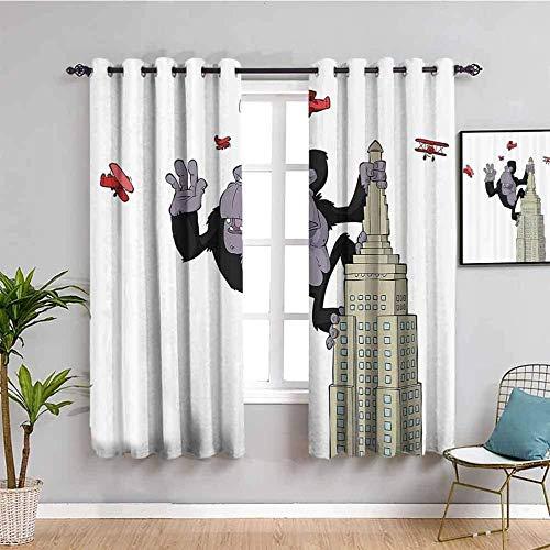 LucaSng Cortinas de Opacas - Dibujos Animados Edificio orangután avión - 264x160 cm - para Sala Cuarto Comedor Salon Cocina Habitación - 3D Impresión Digital con Ojales Aislamiento Térmico Cortinas