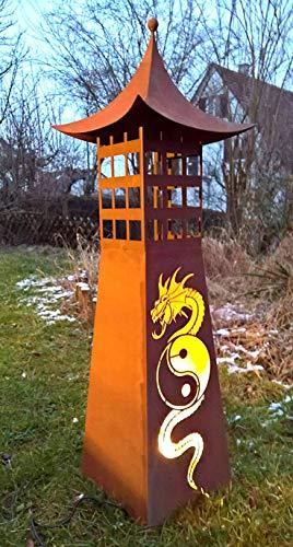 Maison en France Gartensäule-Leuchtsäule, Feuersäule robust,EIN echter Hingucker- Höhe 120 cm, aus Metall und Edelrost für Haus und Garten