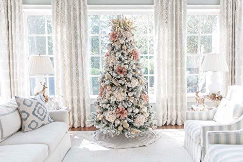 KING OF CHRISTMAS 7.5 Foot King Flock Christmas Tree Unlit, 52″ Wide