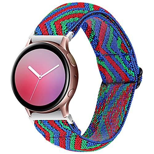 GhrKwiew Gear S2 Elastic Band, Tela elástica Correa Suave Hombres Mujeres Nylon Reemplazo elástico Transpirable para Samsung Watch 3 41mm/ Galaxy Watch 42mm Active 40mm/ Active 2 (L13)