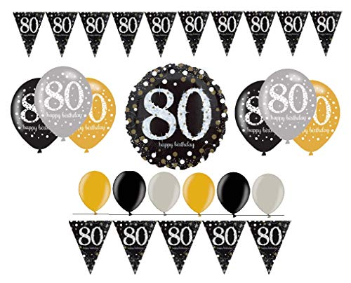 Feesten verjaardagsdecoratie 80e verjaardag I 14 delen decoratieset folieballon cijferballon luchtballon wimpel slinger goud zwart zilver party decoratie Happy Birthday 80