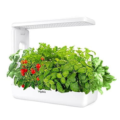 VegeBox Smart LED Hydroponics Growing System, Indoor LED Lighting Herb Garden (Kitchen-Box, White)