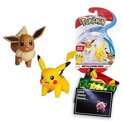 Lively Moments Pokemon Battle Pack Pikachu & Evoli - Eevee / Sammelfiguren / Spielfiguren Alola Erweiterung und Exklusive GRATIS Grußkarte