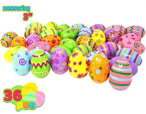 JOYIN 36 Stück bedruckte Ostereier Helle Farbe Ostern Eier zum Befüllen für Ostern Partyzubehör, Osterkorb Füllstoffe, Klassenzimmer Anreize, Kinderspielzeug und Überraschungsgeschenk