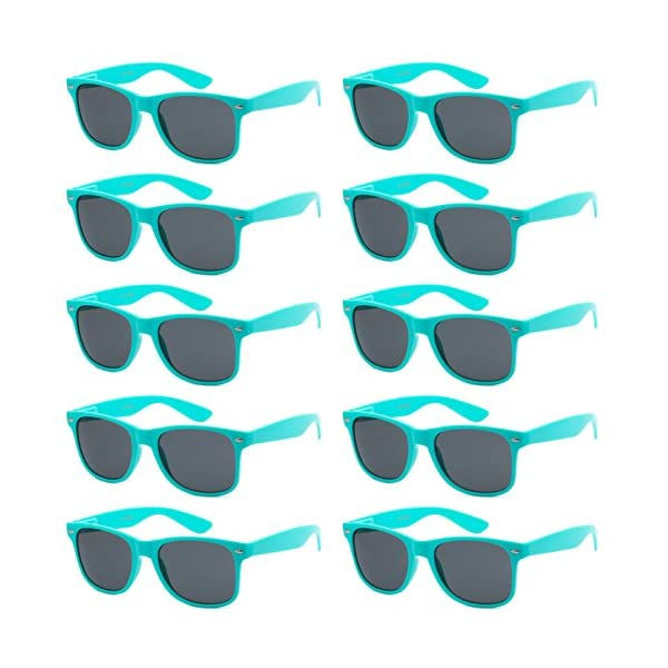 WHOLESALE UNISEX 80'S STYLE RETRO BULK LOT SUNGLASSES (Aqua Teal, Smoke)