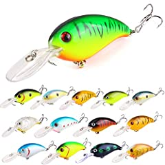 🐟Total 14pcs different color fishing crankbaits with treble hook in one plastic box,each bait weight 0.45oz,length 3.94in,diving depth:1.5m. 🐟3D life like fish eyes with fish-attracting laser printed body, realistic fishing lures with life like swimm...
