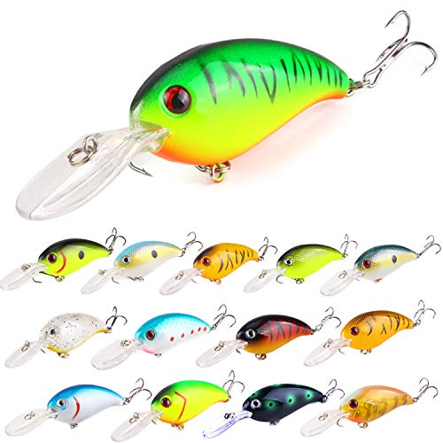 ZWMING Bass Crankbait Fishing Lures Set, Diving Wobblers Artificial Bait with 3D Eyes, Lifelike Swimbait for Freshwater Saltwater Fishing, 14pcs in Tackle Box (Style A-14pcs 0.49oz/3.9in)