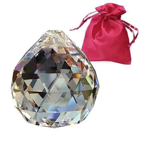 Kristalglazen bol ø 40mm in geschenkzakje loodkristallen kogel regenboogkristal om op te hangen vensterversiering Feng Shui Waldorf kristalglas kristallen bal energieversterker en zonnevanger