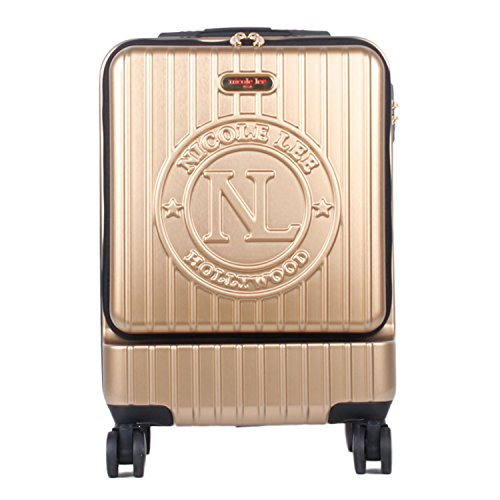 Nicole Lee Women's Carry On [gold] Hard Shell Travel Luggage, Laptop Compartment Rolling Wheels, One Size