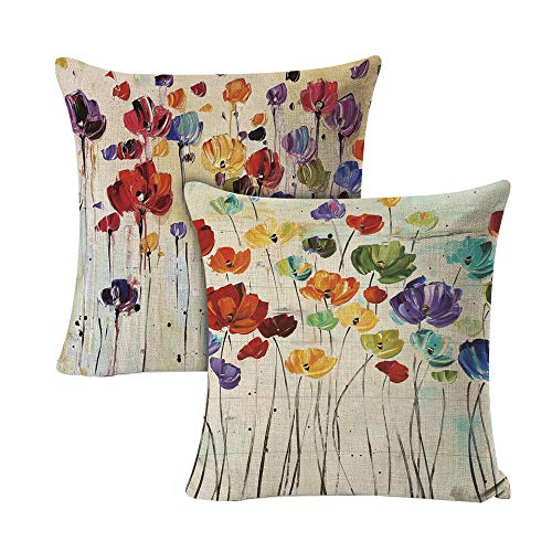 DUSEN Decorative Throw Pillow Covers for Couch, Sofa, or Bed Set of 2 18 x 18 inch Oil Painting Flower Farmhouse Cotton Linen Cusion Cover (2pcs Paiting)…