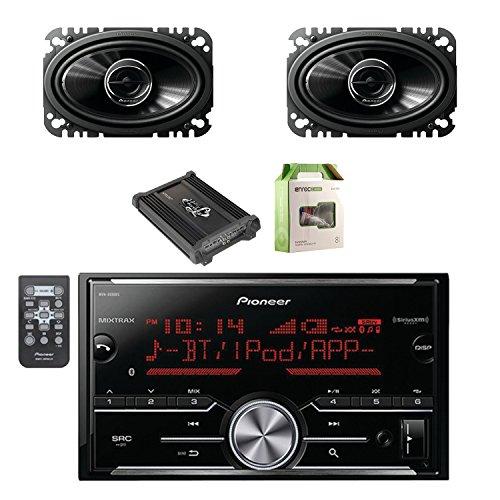 Pioneer Vehicle Digital Media 2DIN Receiver with Bluetooth with Pioneer 2-Way 200W Car Speakers 2-Pairs, Lanzar Heritage Mosfet Amplifier & Enrock Amplifier Wiring Installation Kit