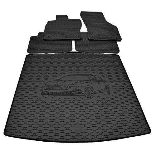 X & Z PPH – Juego de alfombrillas de goma para maletero para Skoda Octavia IV Combi/Limousine a partir de 2020 – antideslizante