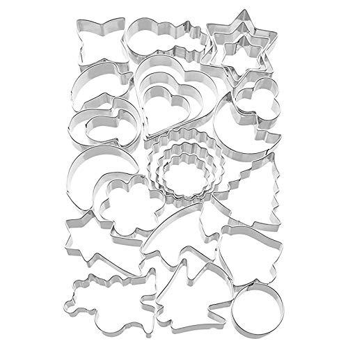 N/G 22 Stück Edelstahl Plätzchenausstecher Set, Motiv in unterschiedlichen Größen Edelstahl Ausstechformen Weihnachten, Geometrische Keks Ausstechformen Set, DIY Tools für Backen Fondant Weihnachten