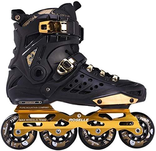 LQ Inline Speed Skates Schuhe Hockey Roller Skates Turnschuhe Rollen Frauen Männer Roller Skates for Erwachsene Skates Inline Professional 10 Größe, Schwarzes Gold (Size : UK3EU35)
