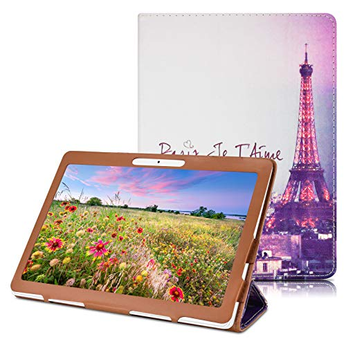 "DETUOSI YELLYOUTH 10.1 inch Android Tablet Case, PU Leather Folio Cover fit for Plum 10"" Phablet,Lectrus 10,Victbing 10,Hoozo 10,Wecool 10.1,Yuntab 10.1 (K107/K17),KUBI 10.1,Winsing 10 (Tower)"