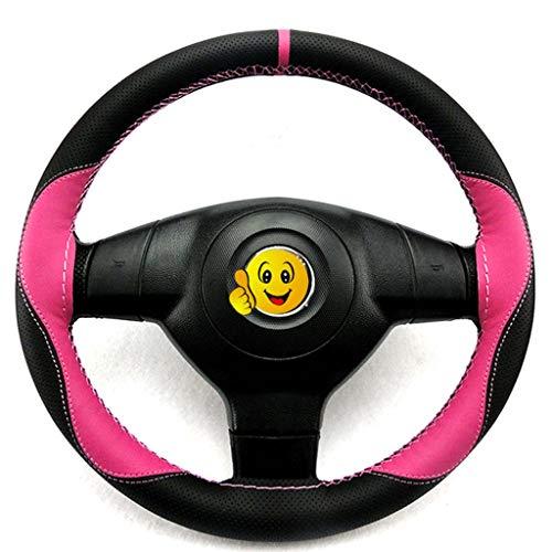 FMJGBHBJ tweekleurige gestikte stuurwieldop geschikt voor auto's interieur Comfort anti-slip bescherming Cover Zwart+poeder
